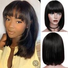 Straight Wig Bangs Human-Hair-Wigs Short-Cut Black Women Brazilian HANNE with Bob Shoulder-Remy-Wig