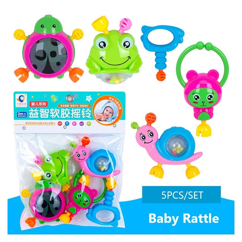 5Pcs/Set Baby Rattle Toys 0-12 Month Animal Style Plastic Newborn Infants Soft Teether Hand Grip Ball Educational Toddler Toys