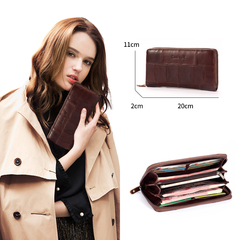 Cobbler Legend Brand Designer Casual Women Wallet Genuine Leather Long Wallet For Ladies Coin Card Purses For Female Coin Pocket Women Women's Bags cb5feb1b7314637725a2e7: Chocolate Coffee