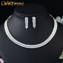 CWWZircons Exquisite Cubic Zirconia Wedding Party Jewelry Set Leaves Shape High Quality CZ Bridal Necklace Earring T075
