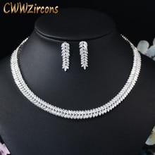 CWWZircons מעוקב Zirconia מסיבת חתונת תכשיטי סט עלים צורה באיכות גבוהה CZ כלה שרשרת עגיל T075