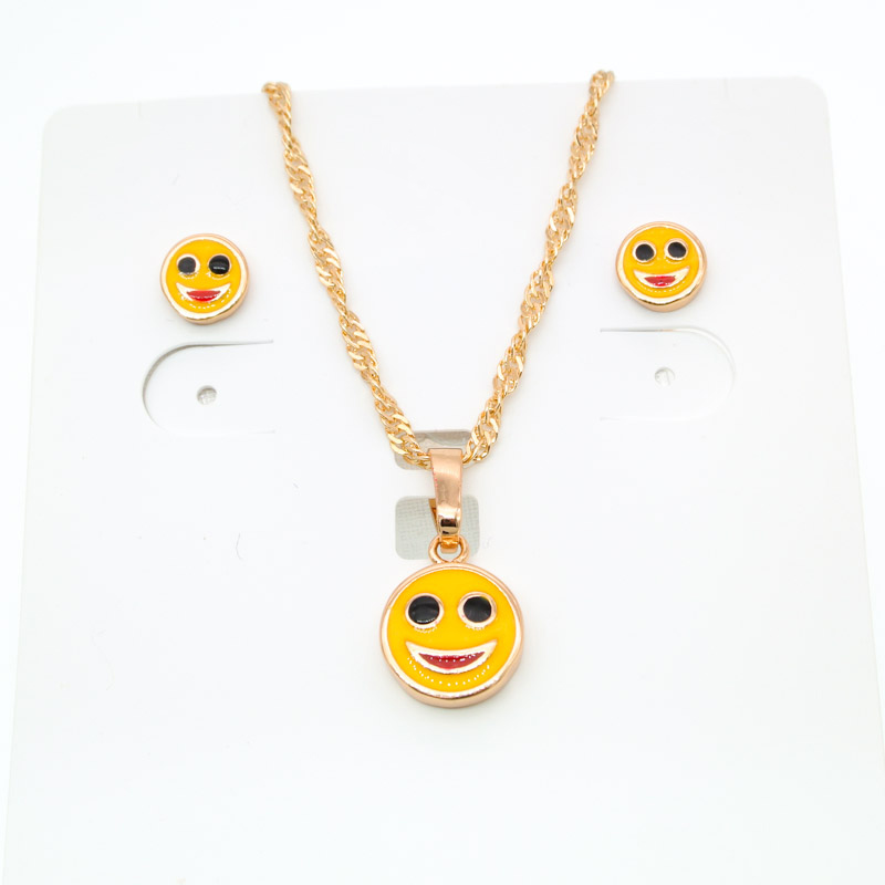 Smile Face Gold Baby Jewelry Set Gift for New Born 35cm Necklace Earring Bijoux Bebe Joyeria Kids Jewellery Sets Child S0307