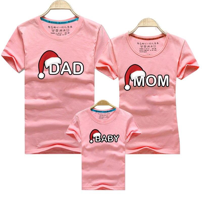 Рождественская футболка для папы, мамы и ребенка; одежда для всей семьи; Одинаковая одежда для мамы, дочки, папы и сына; рубашка для мамы и меня - Цвет: Pink