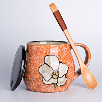 Japanese Hand Painted Ceramic Mug with Lid and Spoon Minimalist Coffee Milk Breakfast Mug Flower Home Large Unique Mugs MM50MK