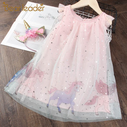 Urso líder meninas princesa vestido novo verão crianças vestidos de festa elegante unicórnio bordado vestido crianças roupas 3 7y