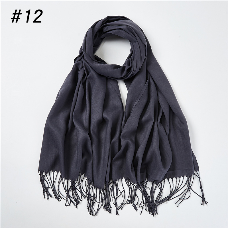 Solid Color Cashmere Scarf Women 2020 New Long Soft Shawls And Wraps Foulard Pashmina Fashion Tassels Hijab Femme Neck Scarves