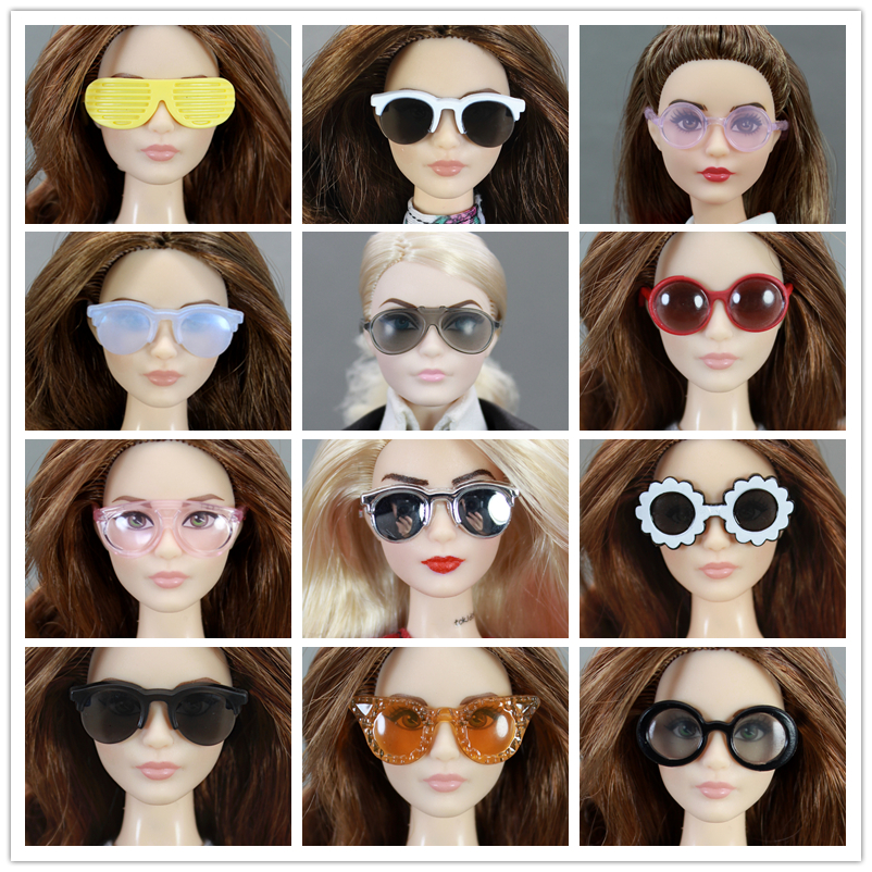 Original Doll Sunglass / Mix Different Styles Fashion Multicolor Accessories For 1/6 Barbie Kurhn Doll GiftToys For Girls