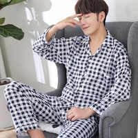 Pijama hombre invierno pijamas hombre algodon pijamas de hombre ropa de dormir a rayas pijamas de talla grande primavera y otoño