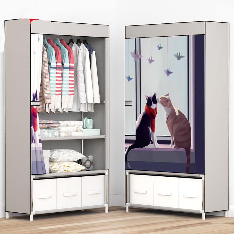 Wardrobe Simple Cloth Wardrobe Steel Pipe Bold Reinforcement Simple Modern Economic Cabinet Double Single Assembly Wardrobe