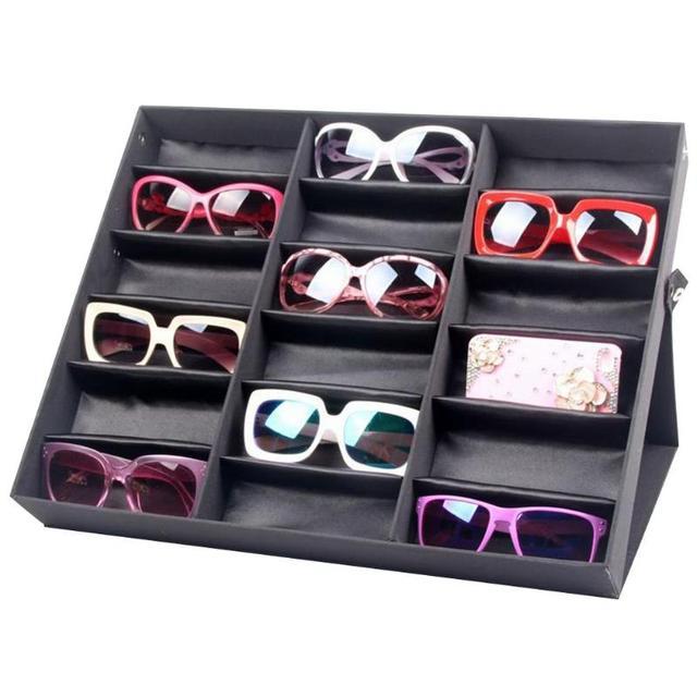 18 Grid Sunglasses Storage Box Organizer Glasses Display Case Stand Holder Eyewear Eyeglasses Box Sunglasses Case