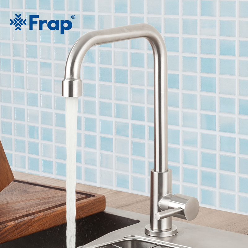 FRAP Kitchen Faucet Stainless Steel Brushed Process Swivel Basin Faucet 360 Degree Rotation Taps Water Mixer