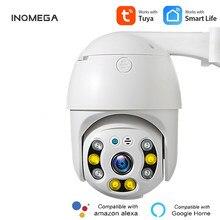 Inqmegea 3mp tuya câmera adicionar google casa e aleax vida inteligente câmeras de vigilância ptz câmera ao ar livre wifi 4x zoom câmera