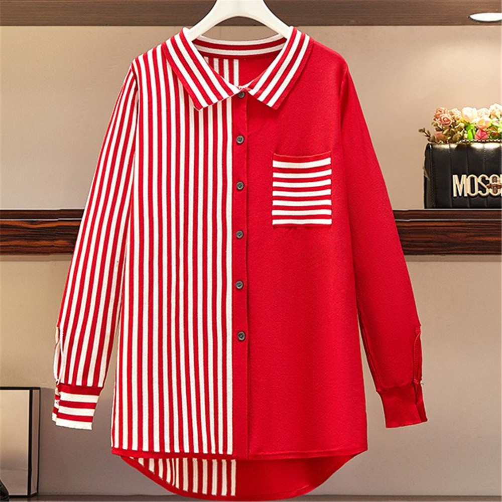 Large Size Women's Spring 2021 New Fashion Loose Foreign Style Knit Shirt Cover Belly To Show Thin Top