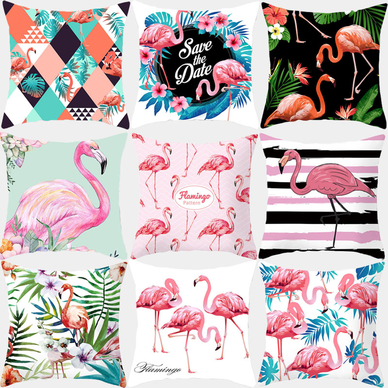 Pillowcase Cushion Cover 45*45 Flamingo Plant Print Sofa Decorative Cushions Pillow Cases Polyester Home Decor Pillow Covers