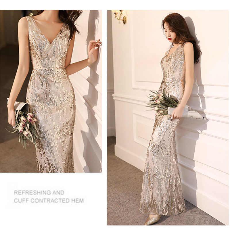 It's Yiiya ชุดราตรีแชมเปญ Shining Elegant ชุดราตรีสำหรับผู้หญิงแยกชุดอย่างเป็นทางการ Mermaid Long Robe de Soiree k041