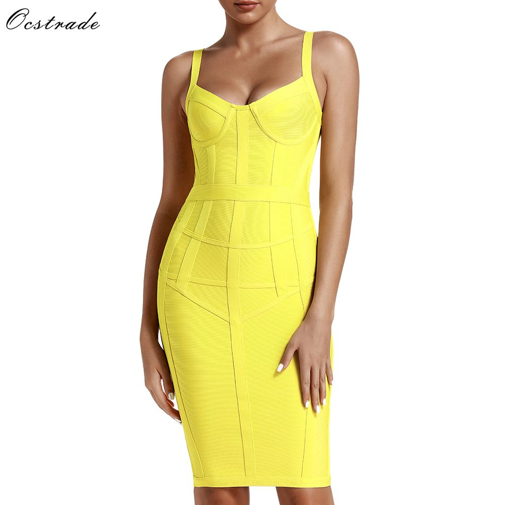 Ocstrade Bandage Dresses Bodycon Vestidos 2019 New Arrival Women Striped Neon Yellow Bandage Dress Rayon Sexy Party Summer Dress
