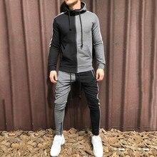 KLV Tracksuit Men Autumn Patchwork Hoodies Zipper Sportswear Sweatshirt Top Pants Sets Hip Hop Suit Outwear Brand Fasshion