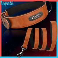 Large Small Personalized Dog Collars Leather Set Big Dog Collar for Dogs