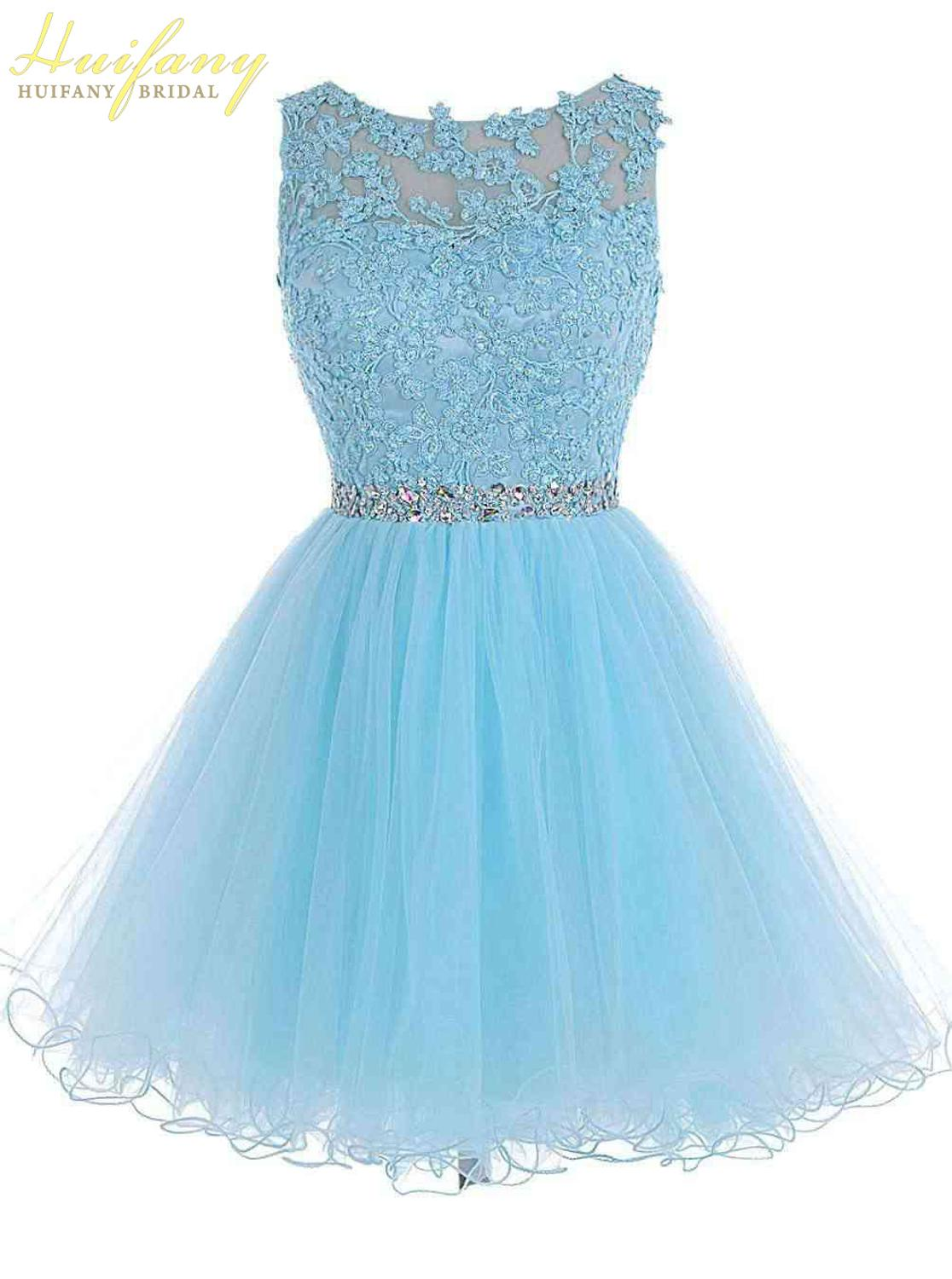Lace Applique Beaded Backless Homecoming Dress 2019 Cheap Scoop A-Line Evening Short Party Tulle Graduation Dress Knee Length