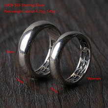 100% 925 Sterling Silver Couples Ring Sets 7mm and 3mm Shiny Simple Engagement Wedding Rings for Women Men Valentines Day Gift