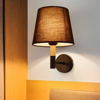 Creative wooden wall lamp LED cloth cover warm bedroom bedside lamp background wall corridor aisle entrance lamp WF1213210