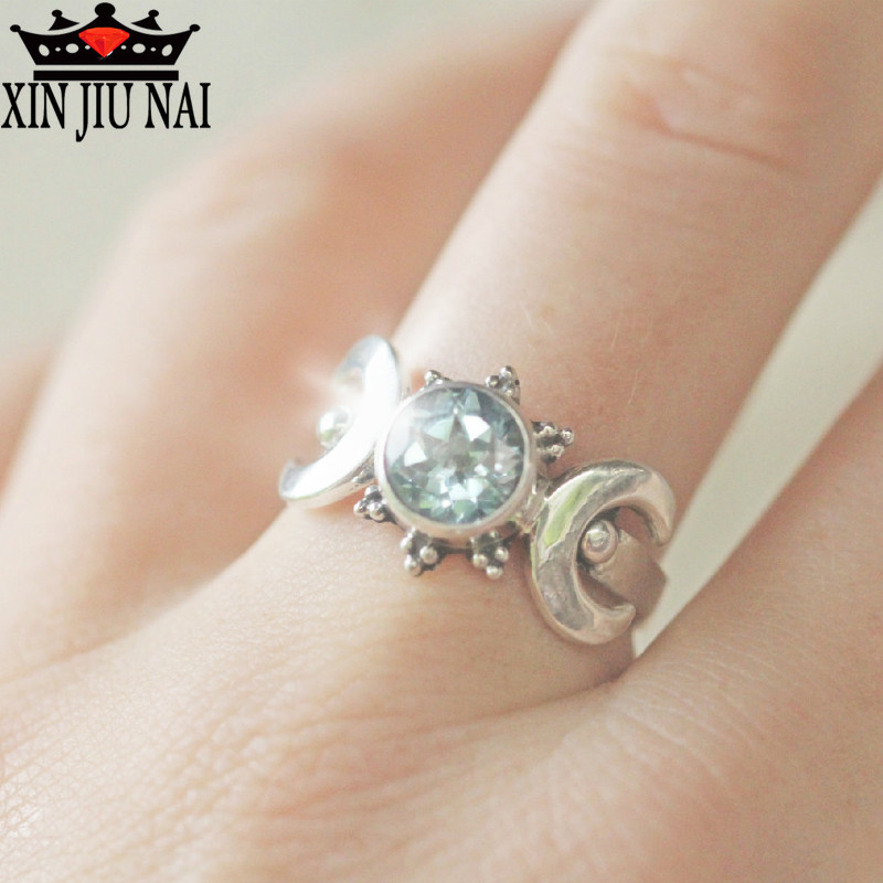 Sailor Moon Magical Anime Ring European American Vintage Thai Silver Moonstone Ring National Wind Zircon Jewelry Sapphire Ring