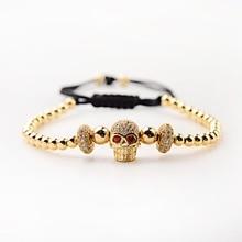 Classical Handmade Copper Beads Braiding Bracelet Gold Men Pave CZ Zircon Skeleton Luxury Jewelry