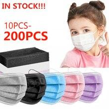 10-200 шт. масок ребенка одноразовая маска на лицо 3 Слои Non-ткали детская маска Анти-пыль анти-спрей для защиты безопасности маска