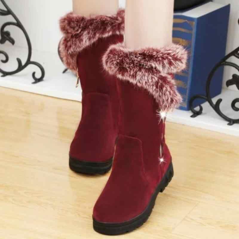 LZJ 2019 yeni kadın çizmeler sonbahar akın kış bayanlar moda sıcak tutmak fermuar kar botları ayakkabı uyluk yüksek süet orta buzağı çizmeler
