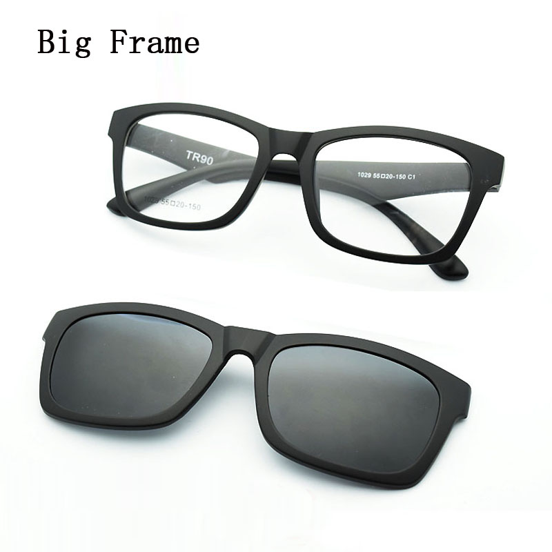 Full Frame Glasses For Men and Big Frmae Matte black Match Magnet Clip Myopia Eyeglasses Polarized Sunglasses A wide Face