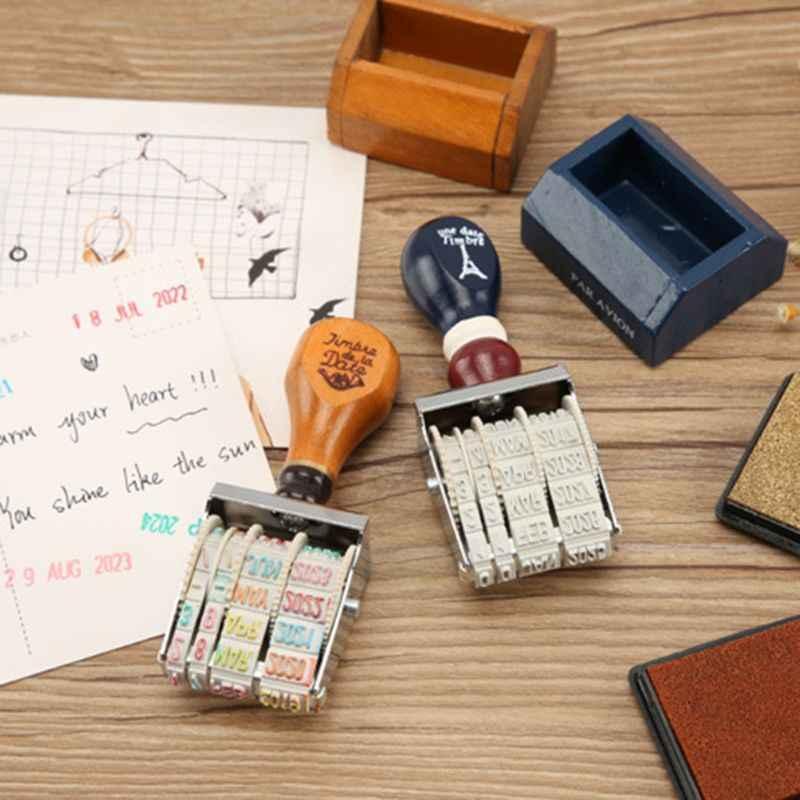 خشبية ختم تاريخ ل DIY سكرابوكينغ الحرفية ديكور المتداول عجلة خمر إمدادات