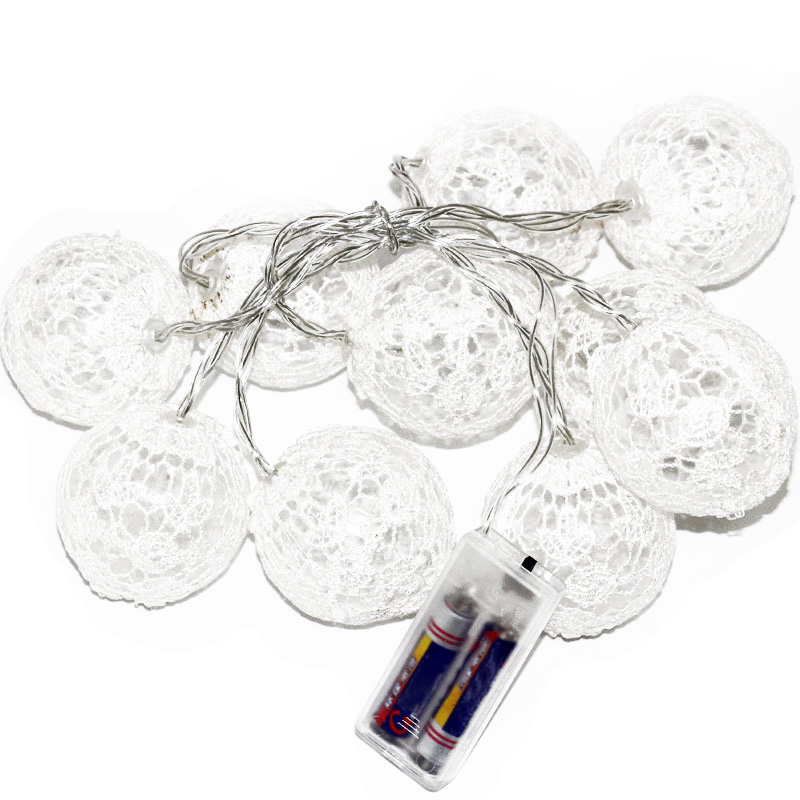 White 10Led String Light Round Lace Cloth Ball Light 1.5M Battery-Powered String Lights Decorative Lights