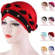Índia muçulmano mulheres hijab chapéu câncer quimio boné trança contas turbante headscarf cabeça islâmica envoltório senhora gorro gorro capa de perda de cabelo