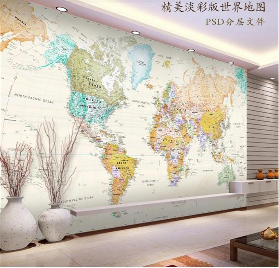 US $15 3 OFF Custom Size 3D Wall Mural Wallpaper Living Room Sofa TV Backdrop Pale Coloured World Map 3d Picture Wallpaper Home Decor In