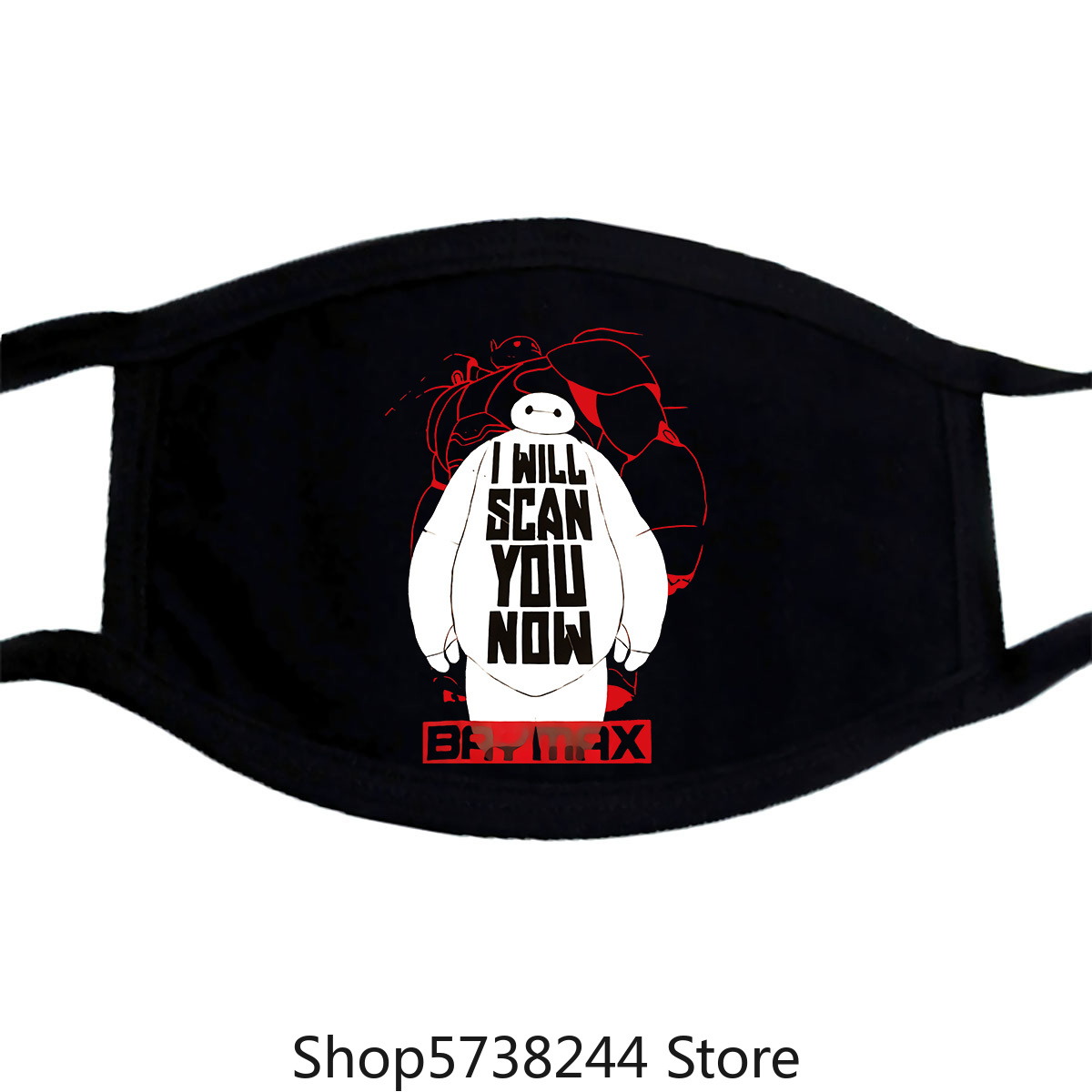 Big Hero 6 Baymax'I Will Scan You Now' Boy'S Black Tee Mask L 10/12 Washable Reusable Mask With
