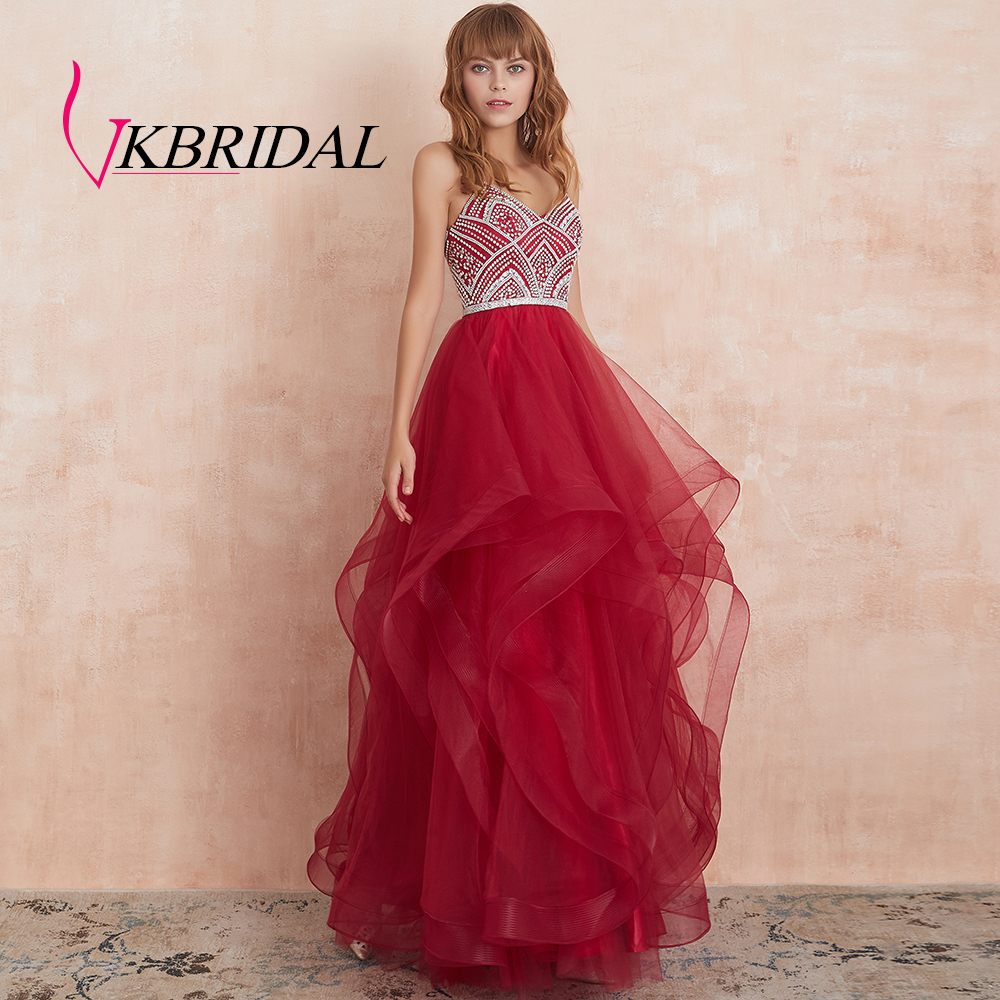 VKBRIDAL Red Tiered Tulle Prom Dresses 2019 New Ball Gowns Beaded Crystals Formal Long Evening Dress