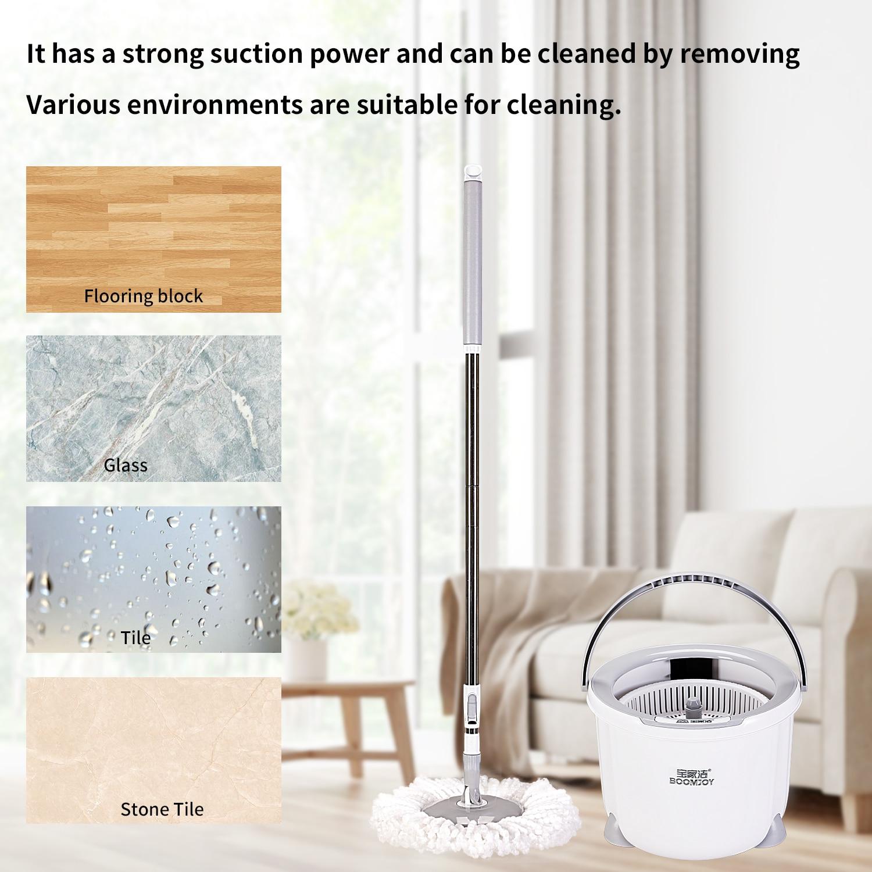BOOMJOY-fregona giratoria 360 con cubo, 2 uds., almohadillas de microfibra, mango extendido para limpieza de madera dura