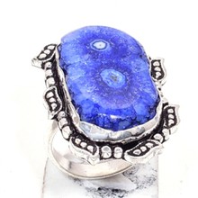 Genuine Solar Quartz  Ring Silver Overlay over Copper, Hand Made Women Jewelry gift , USA Size :8.5
