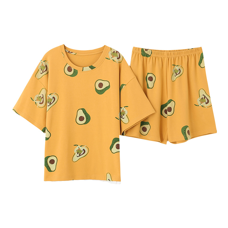 New Crew Neck Avocado Printing Casual Style Homesuit Homeclothes Fashion Style Short Sleeve Short Pants Yellow Top Pajamas Set