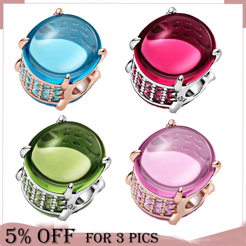 New 2021 925 Sterling Silver Bead Colorful Transparent Glass Charms Fit Original Pandora Bracelets Women DIY Jewelry Gifts