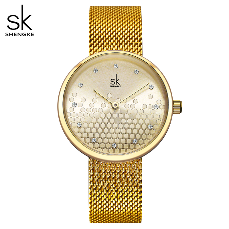 Shengke Woman Watches Gold Top Brand Luxury Female Watch Women Quartz Waterproof Women's Wristwatch Ladies Girls Watches Clock