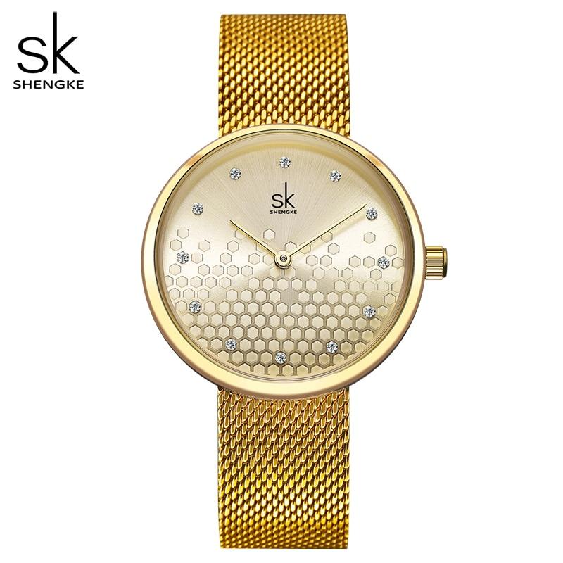 Shengke Woman Watches Gold Top Brand Luxury Female Watch Women Quartz Waterproof Women's Wristwatch Ladies Girls Watches Clock|Women's Watches| |  - title=