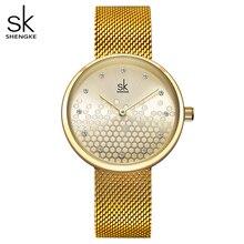 Shengke Woman Watches Gold Top Brand Luxury Female Watch Women Quartz Waterproof Womens Wristwatch Ladies Girls Watches Clock