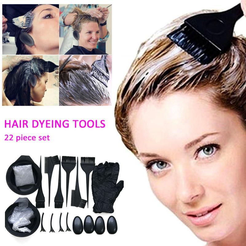 22 Piece Hair Dyeing Tool Set Hair Dye Comb Brush Disposable Cloth Hairdressing Baked Oil Bowl Earmuffs Hairpins Glove