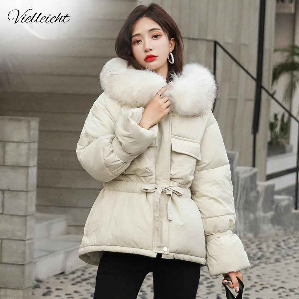 Vielleicht 2019 New Korean Fur Hooded Jackets Parkas Winter Jacket Women Short Style Tie Up Warm Thick Slim Winter Coat Female