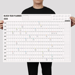 2020/2021 Block Year Planner Daily Plan Paper Wall Calendar with 2 Sheet EVA Mark Stickers for office school Home