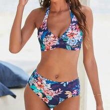 Sexy push up bikini 2020 duas peças maiô feminino halter floral cintura alta bikini conjunto plus size brasileiro maiô