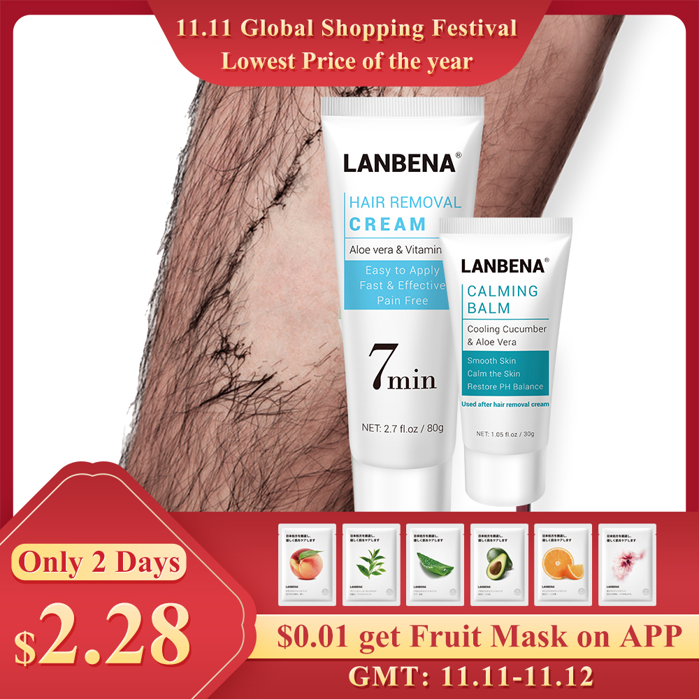 LANBENA Hair Removal Cream Painless Removal Depilation Calming Balm Gentle Effective Epilator Nourishing Repairing Body Care 80g-in Hair Removal Cream from Beauty & Health
