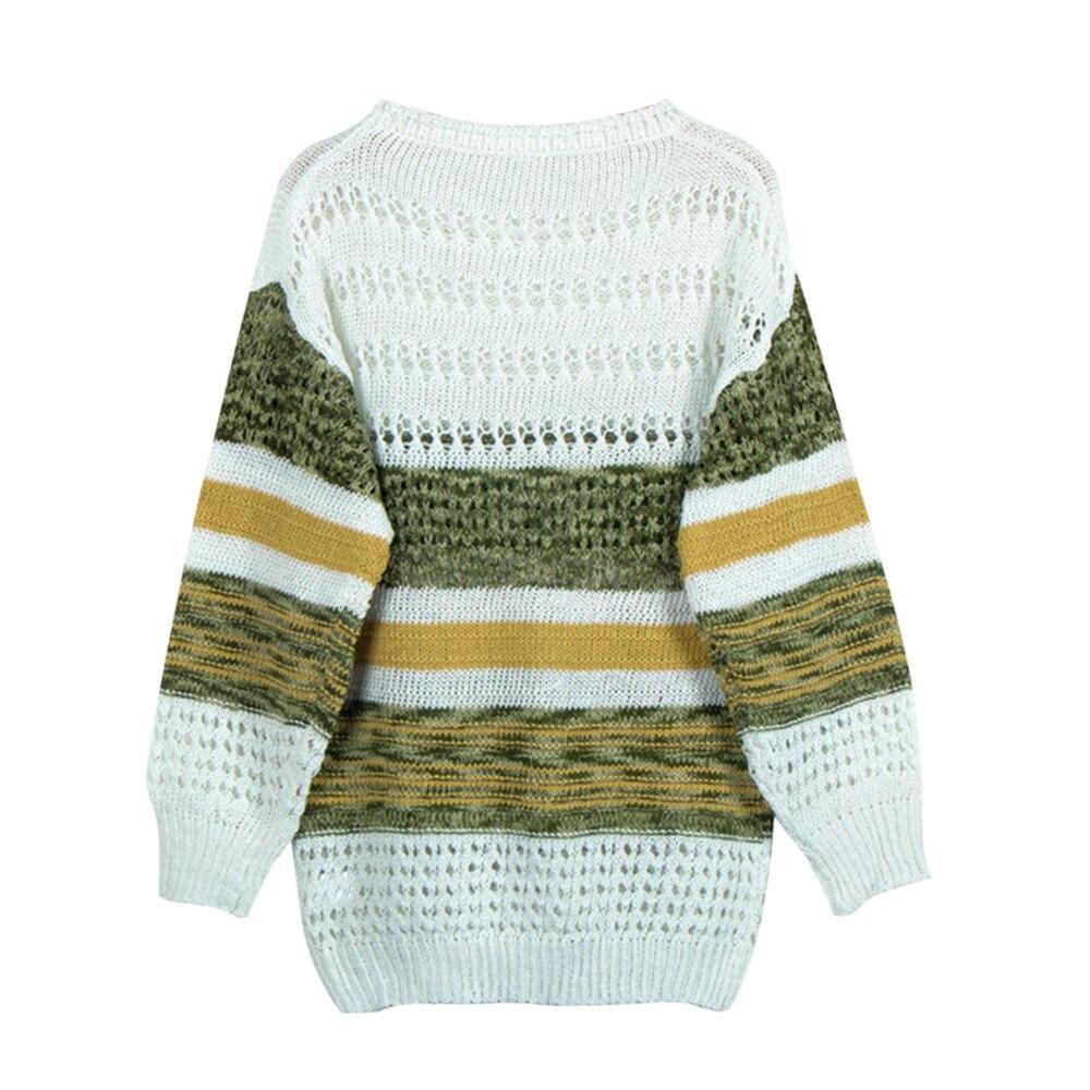 Женский вязаный свитер вырезами, сексуальный вязаный пуловер полоску открытыми плечами стиле пэчворк осенне-зимние топы длинными рукавами...