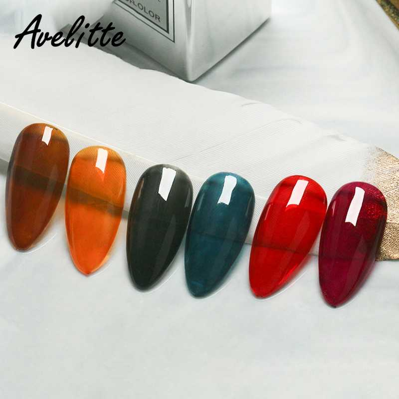 Avelitte น้ำแข็งสีดำสีแดงสีเทาสีม่วงผ่านสีกาวทาเล็บสีแดงสไตล์ใหม่เล็บ Shop ถุงน่องเจล